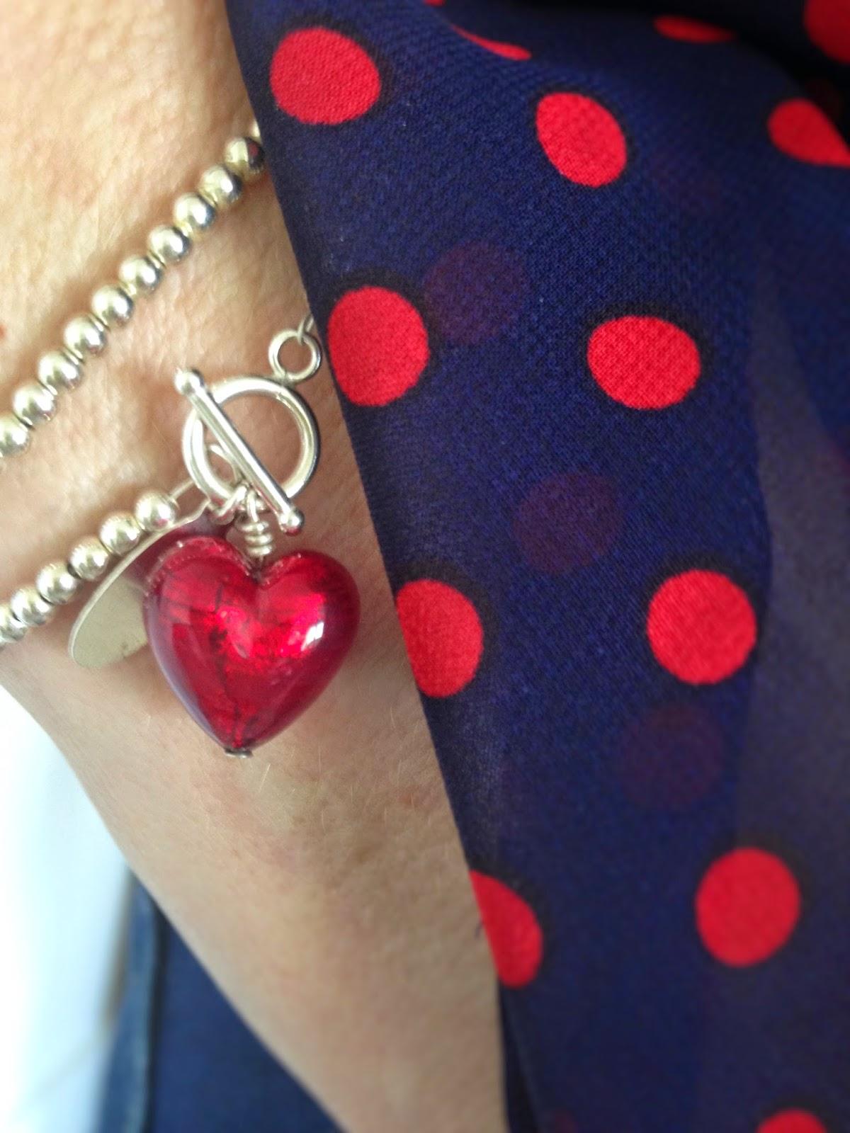 ruby red murano heart double wrap bracelet