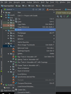 melakukan proses import gambar ke android studio di folder drawable