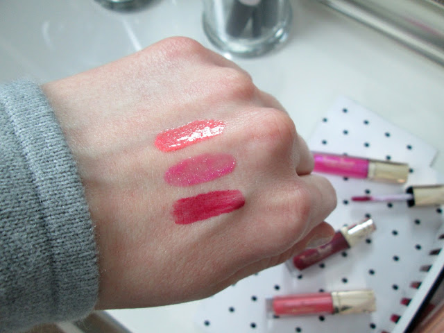 Swatches of Tanya Burr Lipglosses in Macaroon, Candy Frost and Bewitching