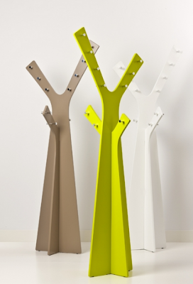 metal coat trees, modern, in green, beige, and white