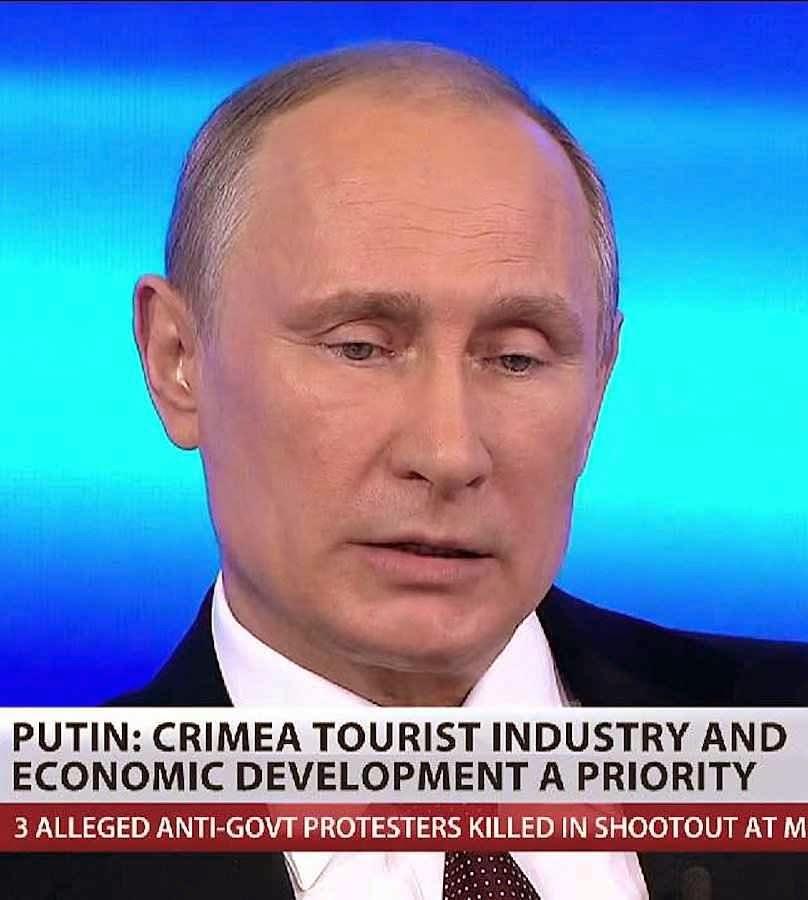 Putin se apresenta como benfeitor da Criméia quando é o chefe invasor e o flagelo da região