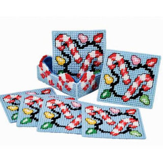 Light Up the Night Candy Cane Coasters Plastic Canvas Kit