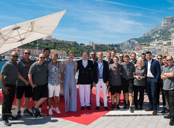 Princess Charlene wore Federica Tosi striped poplin jumpsuit. Scottish Formula 1 pilot David Coulthard and Australian former Formula 1 pilot Mark Weber in Monaco
