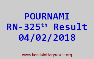 POURNAMI Lottery RN 325 Results 04-02-2018