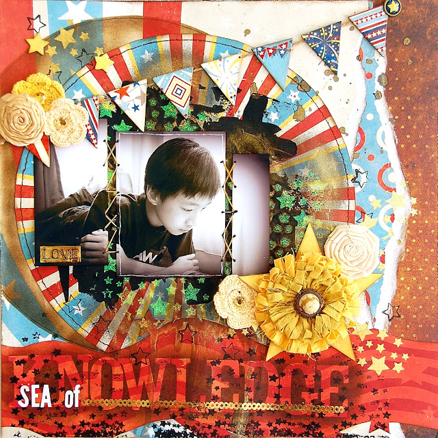 Sea Of Knowledge Layout by Irene Tan using BoBunny Firecracker Collection