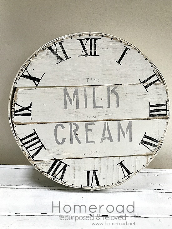 farmhouse cheese box with roman numeral clock face