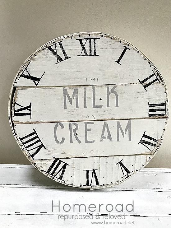farmhouse cheese box with roman numeral clock face