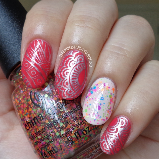 Scented Pink Polish with Silver Abstract Stamping Nail Art