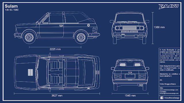 Imagem mostrando o desenho do blueprint do Sulam 130 SC 1980