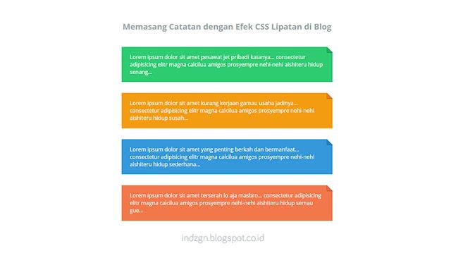 Cara Memasang Catatan dengan Efek CSS Lipatan pada Blog