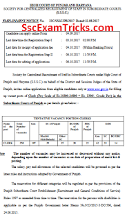 High Court of Punjab & Haryana at Chandigarh Clerk Recruitment 2017