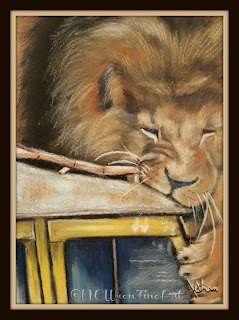 lion attacking vehicle pastel painting 30in30 ncwren