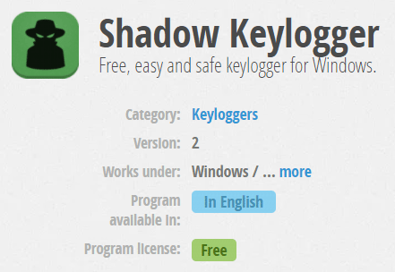Shadow Keylogger Free, easy and safe keylogger for Windows