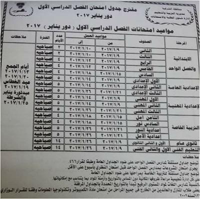 محافظة الشرقيه - جدول مواعيد إمتحانات الترم الاول (إبتدائى - اعدادى - ثانوى)
