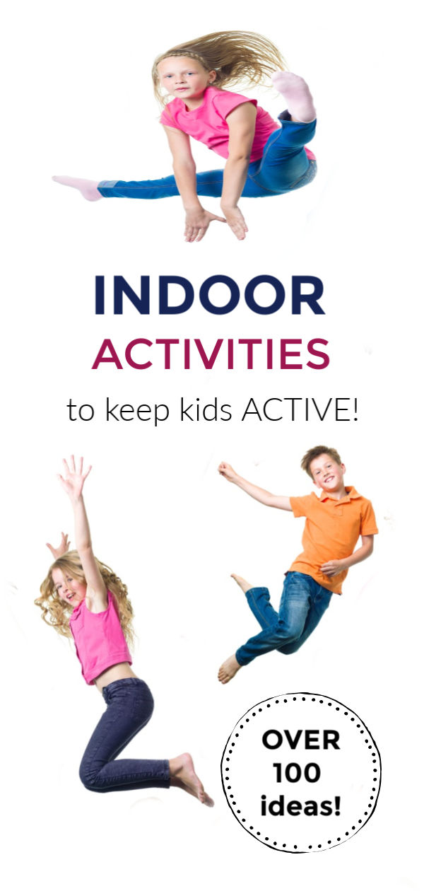 KEEP THEM MOVING! Over 100 activities to keep kids moving! Lots of indoor ideas! #indooractivitiesforkids #indooractivitiesfortoddlers #indooractivities #activeactivitiesforkids #movementactivitiesforkids #keepkidsbusy #keepkidsbusyindoors