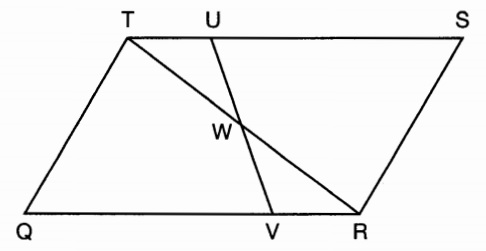 X why january 2016 new york geometry common core part 1 in parallelogram qrst shown below diagonal tr is drawn u and v are points on ts and qr respectively and uv intersects tr at w ccuart