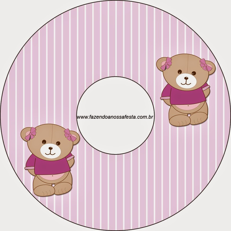 Etiquetas de Osita en Fondo Lila para CD's.