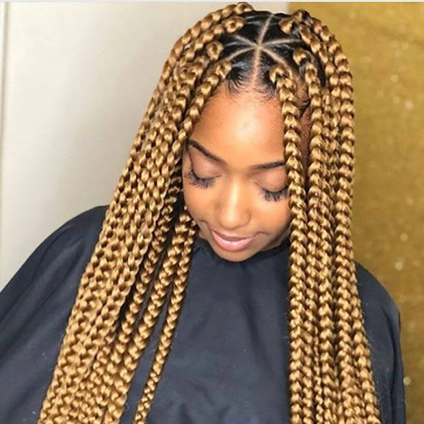 unique triangle box braids hairstyles
