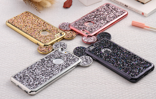 3D Luxury Cute Bling Glitter Diamond Mouse Ring Kickstand Strap iPhone 8 Case Cover