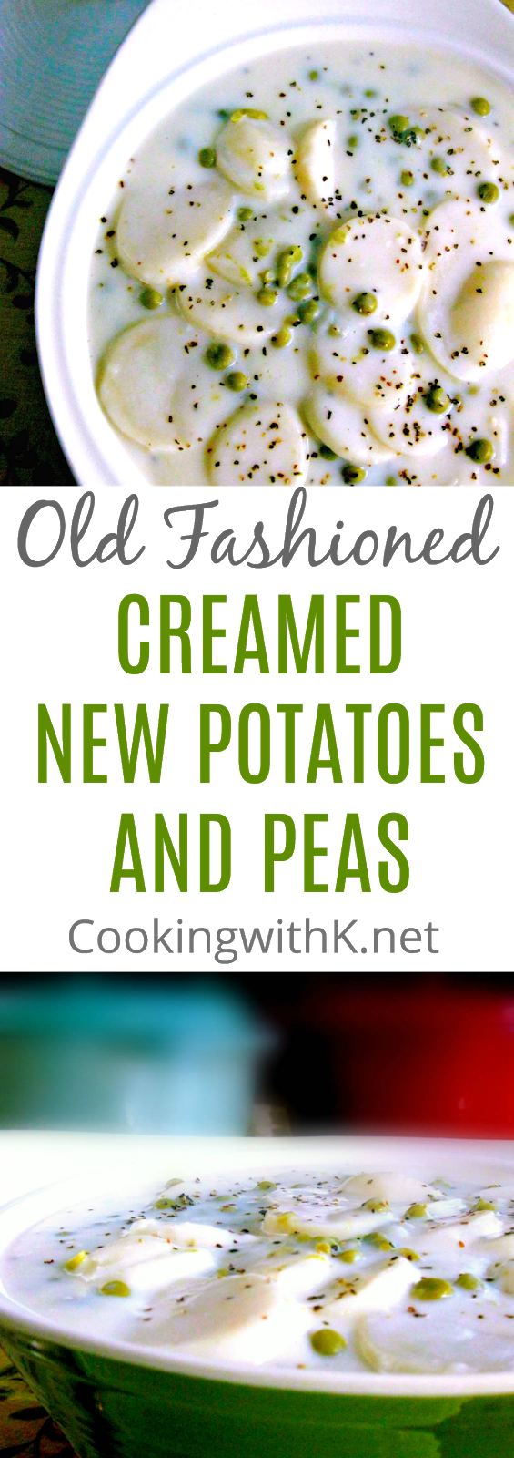 Old Fashioned Creamed New Potatoes and Peas, sometimes called Southern New Potatoes in a White Sauce.  There is one thing for sure about this recipe for New Potatoes, and English Peas smothered in a creamy white sauce is it has been around for ages.  My Mother passed it down to me, and her Mother passed it down to her, tried and true recipe.