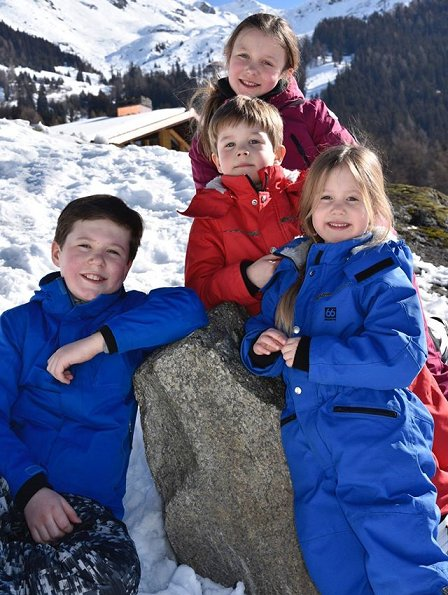 Prince Frederik, Princess Mary ,Prince Christian, Princess Isabella, Prince Vincent, Princess Josephine on Ski Holiday in Verbier, Switzerland