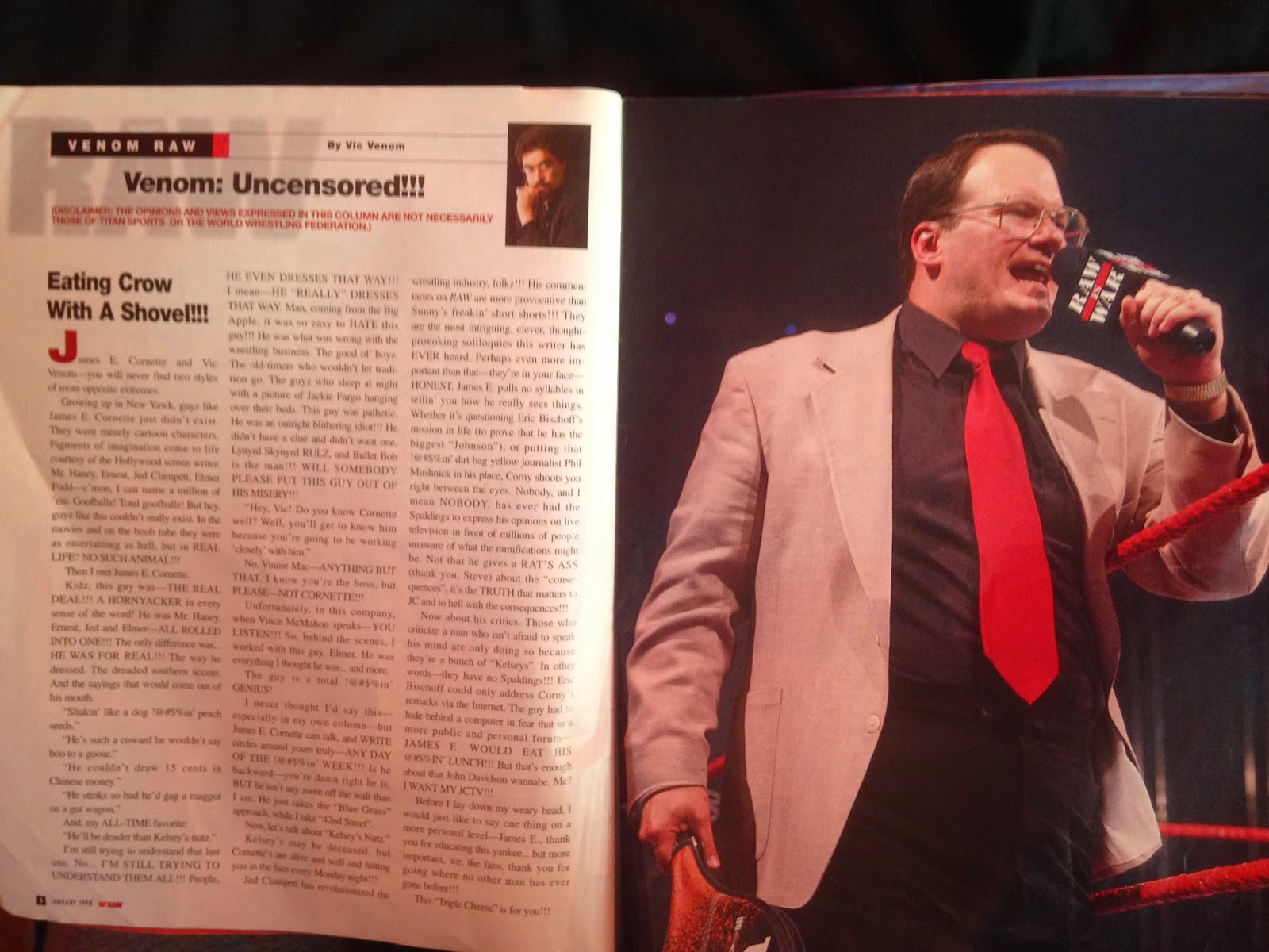 WWE - WWF Raw Magazine - January 1998 - Vince Russo shoots on Jim Cornette