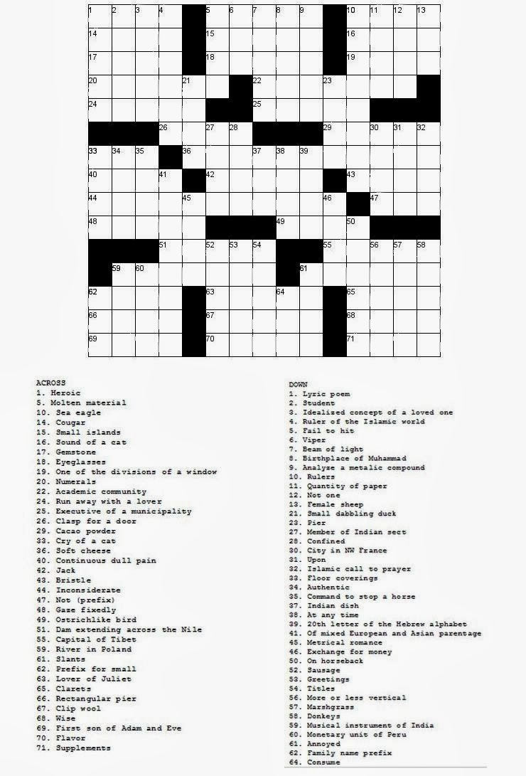 Free printable Word Search and Sudokus: Crossword 6