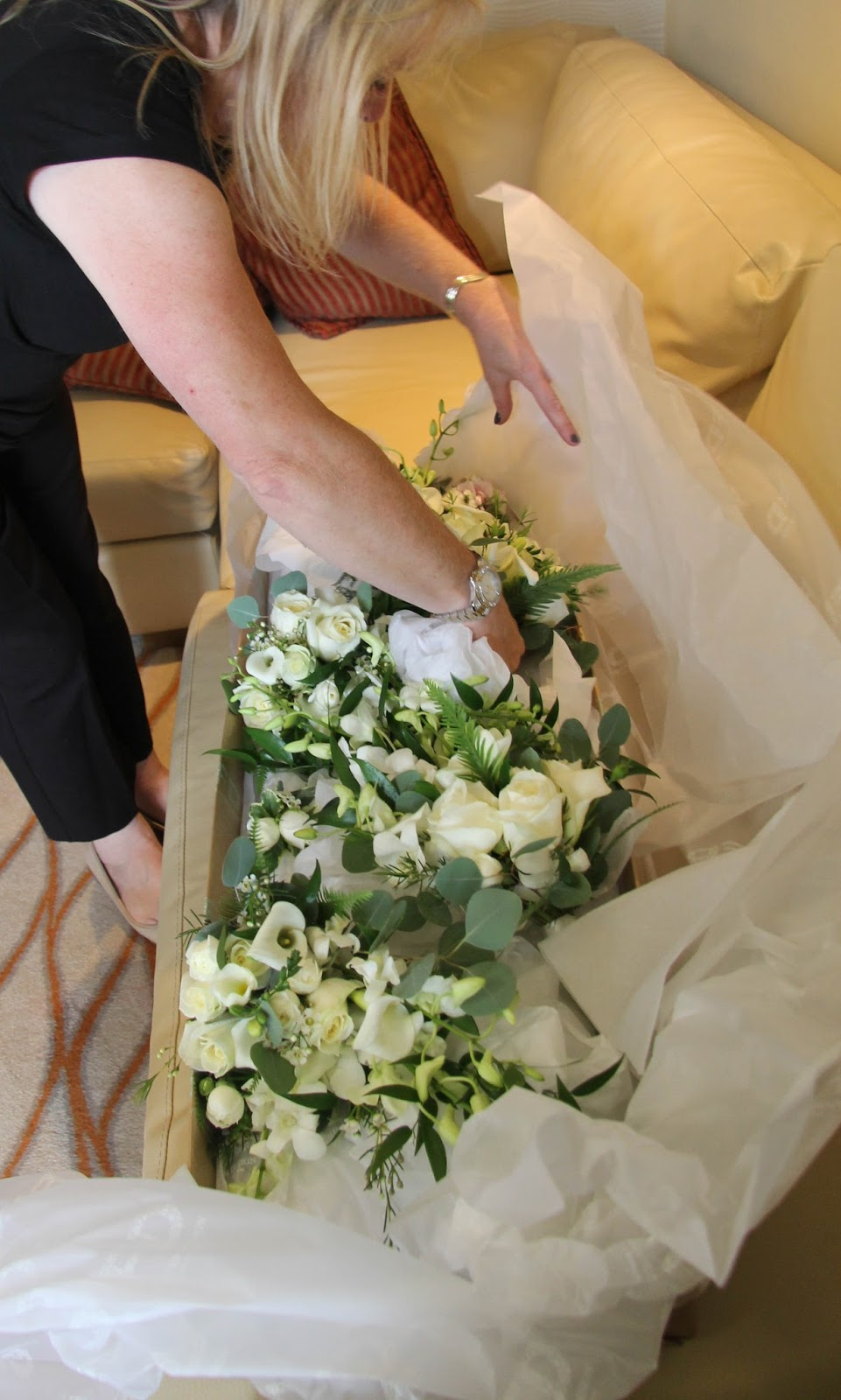 Cascading Bouquets for Lindsey & Rob\'s Outdoor Wedding at Ribby Hall