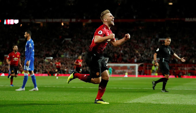 Luke Shaw celebrates scoring his first senior goal during Man United 2-1 win over Leicester