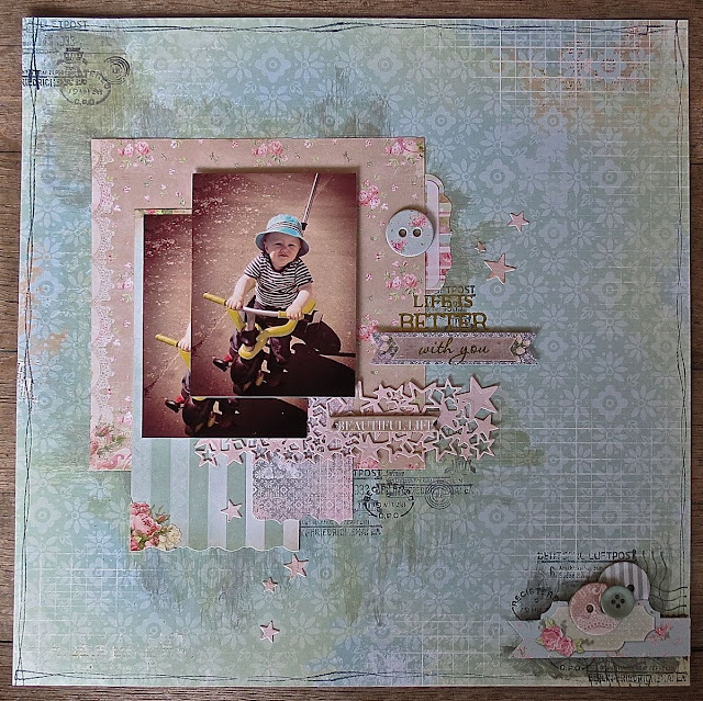 March 2016 BoBunny Sketch Challenge by Megan Gourlay for BoBunny using the Soiree Collection & Postale Stamps