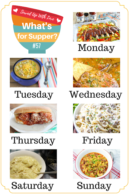 What's for Supper Sunday meal plan recipes include Instant Pot Goulash, Sheet Pan Ribs and Veggies, Cheesy Taco Soup, Crock Pot Meatball Subs, and so much more.