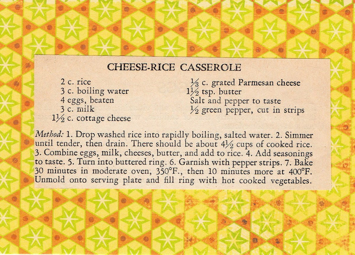 Cheese-Rice Casserole (quick recipe)