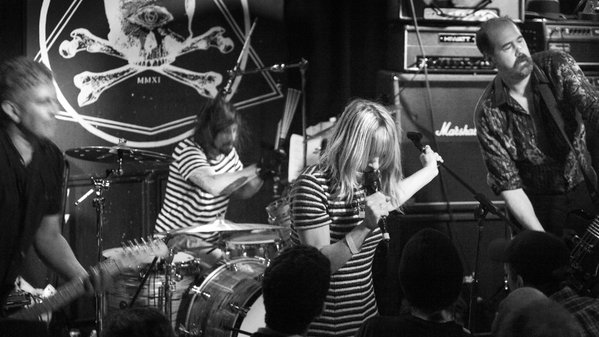 Kim Gordon performs with Nirvana at Saint Vitus in New York City, 2014