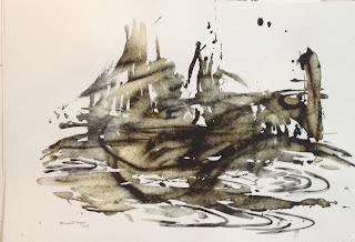 """Noha's Ark painting by Bharati Sagar, 22""""x30"""",medium metal dust and lemon juice"""