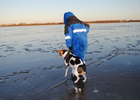 A man and a dog standing on a frozen lake.