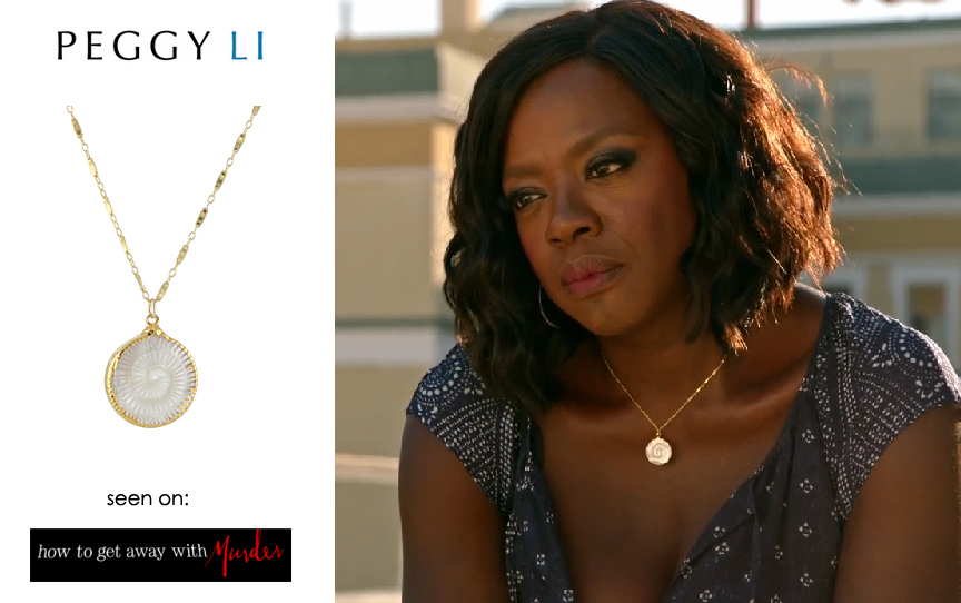 Viola Davis as Annalise Keating in a  Peggy Li Creations jewelry necklace