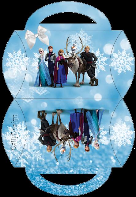 Caja tipo almoada de Frozen con Nieve  para imprimir gratis.