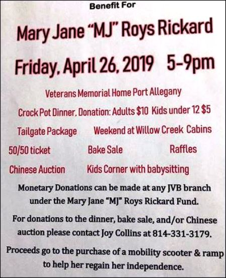 4-26 Rickard Benefit, Vets Memorial, Port Allegany