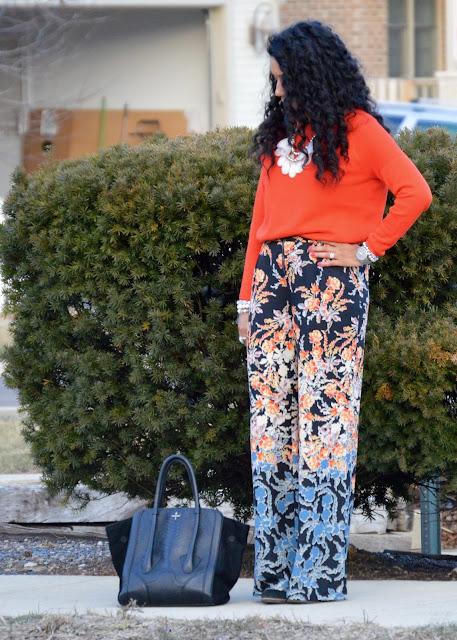 Bright Floral Wide Leg Pants
