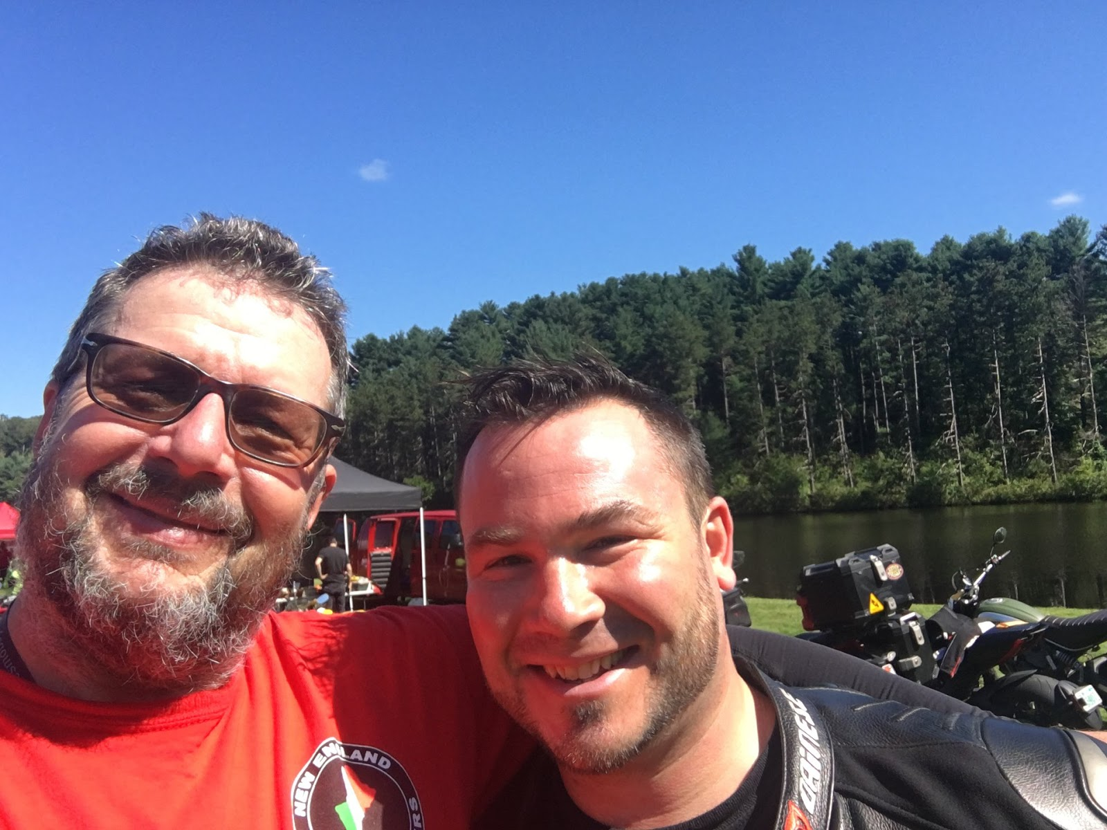 Presidents Ted Gooch of NEDOC New England Desmo Owners Club and Tigh Loughhead of Gotham Ducati