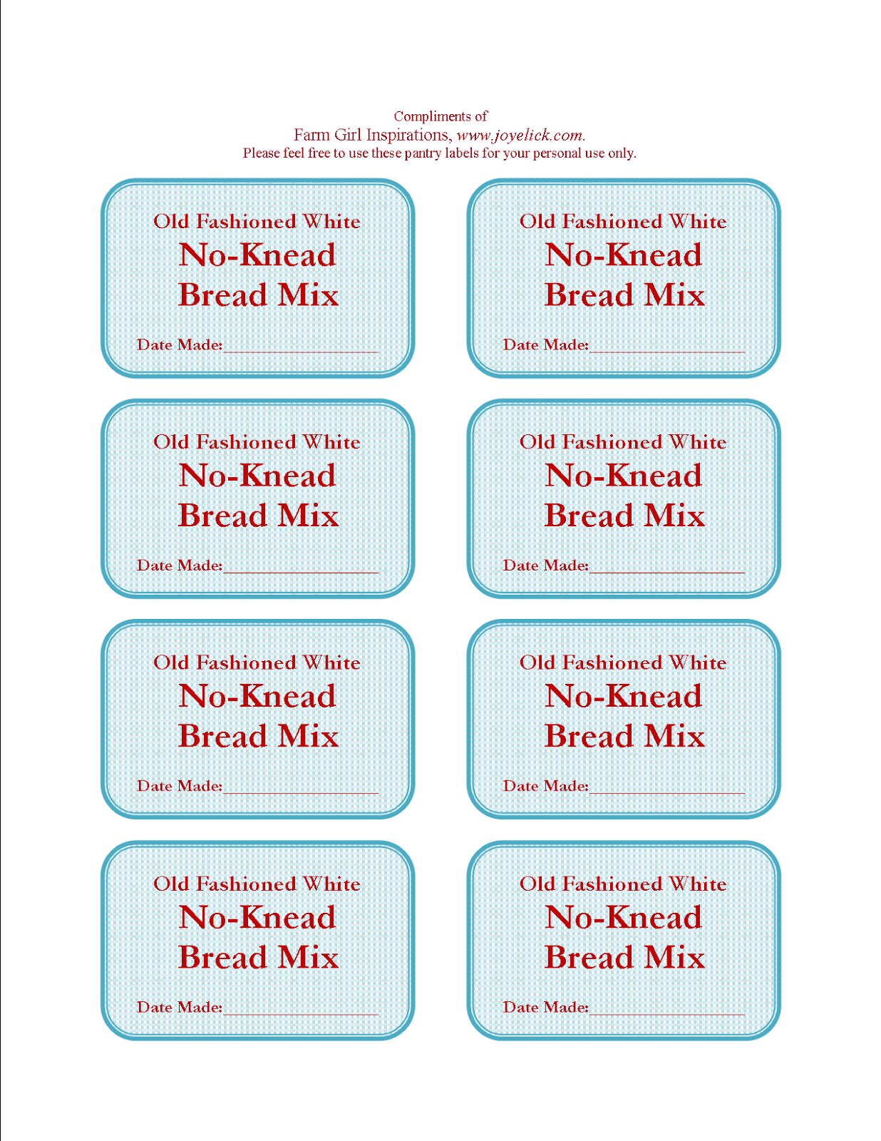 picture regarding Jar of Nothing Printable Label Free known as Do it yourself No-Knead BREAD Blend: The frugal farm gals organized-created