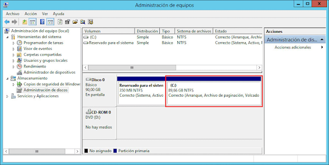 Windows Server 2012: Extender partición NTFS - Volúmenes NTFS de disco