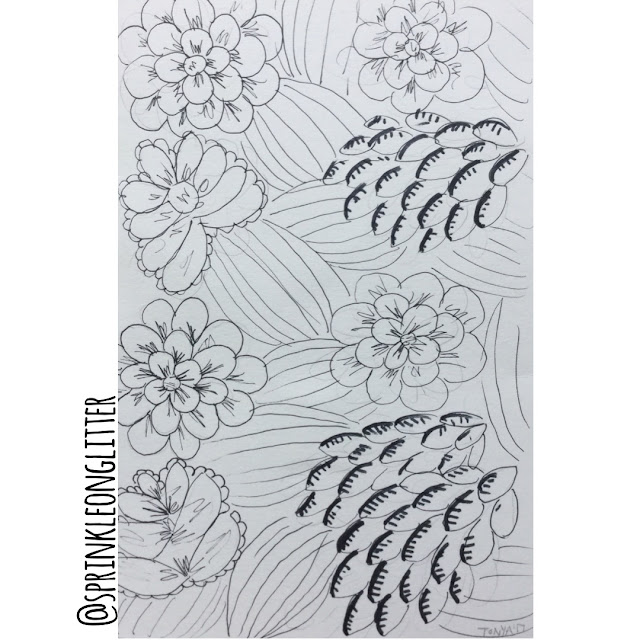 Sprinkle On Glitter Blog//one flower- three ways// doodle