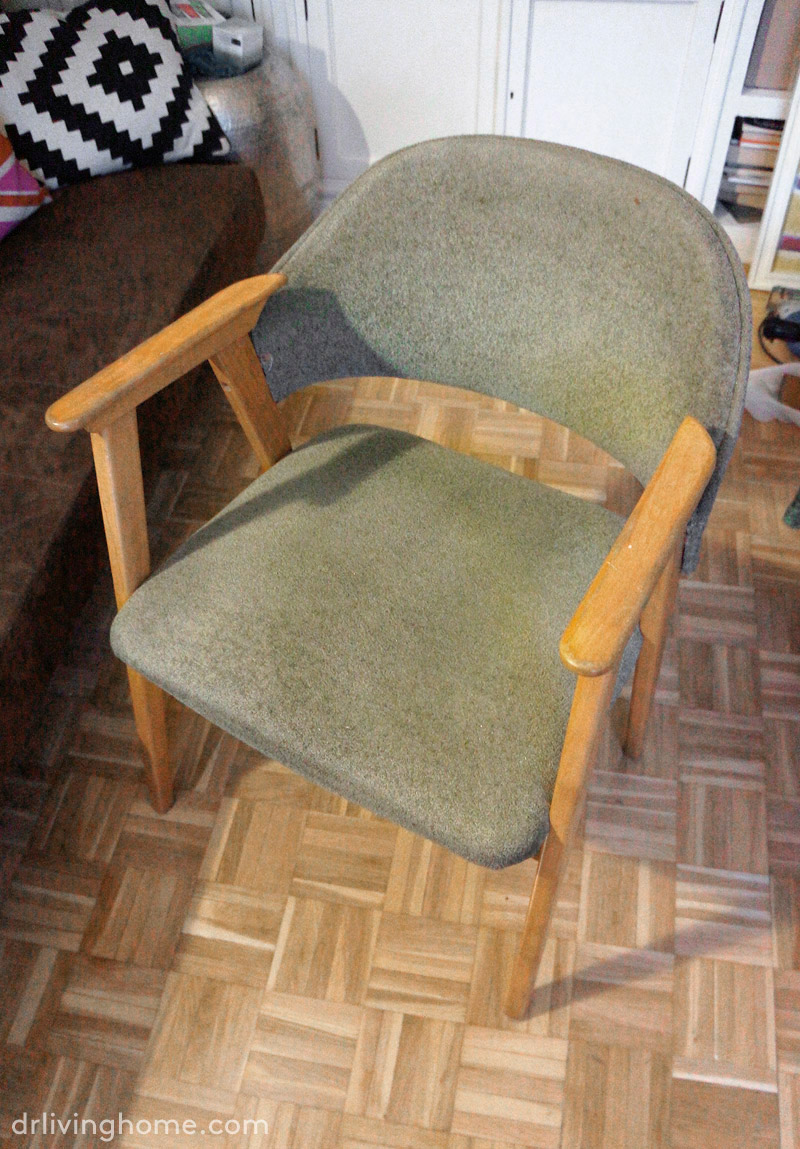 Old chair makeover diy upholstering in leather dr - Como tapizar sillas ...