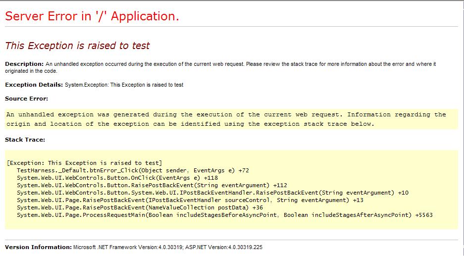 ASP.NET Exception Details