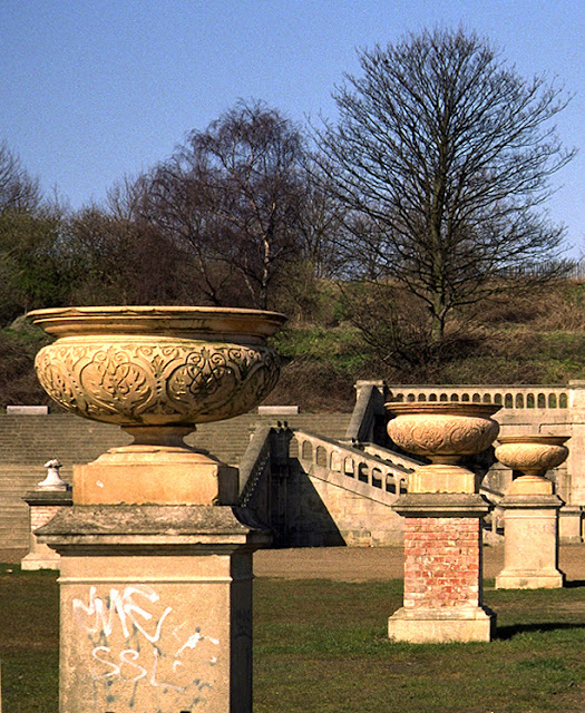 Crystal Palace Park terraces and stone vases, 1990s.