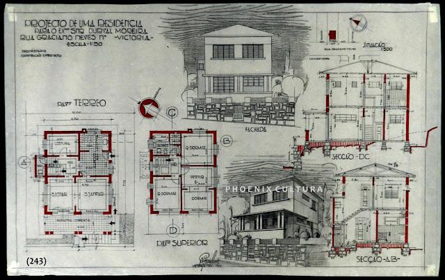 Projeto de uma residência; rua Graciano Neves, Centro, Vitória, ES, proprietário Durval Moreira, setembro/1937.