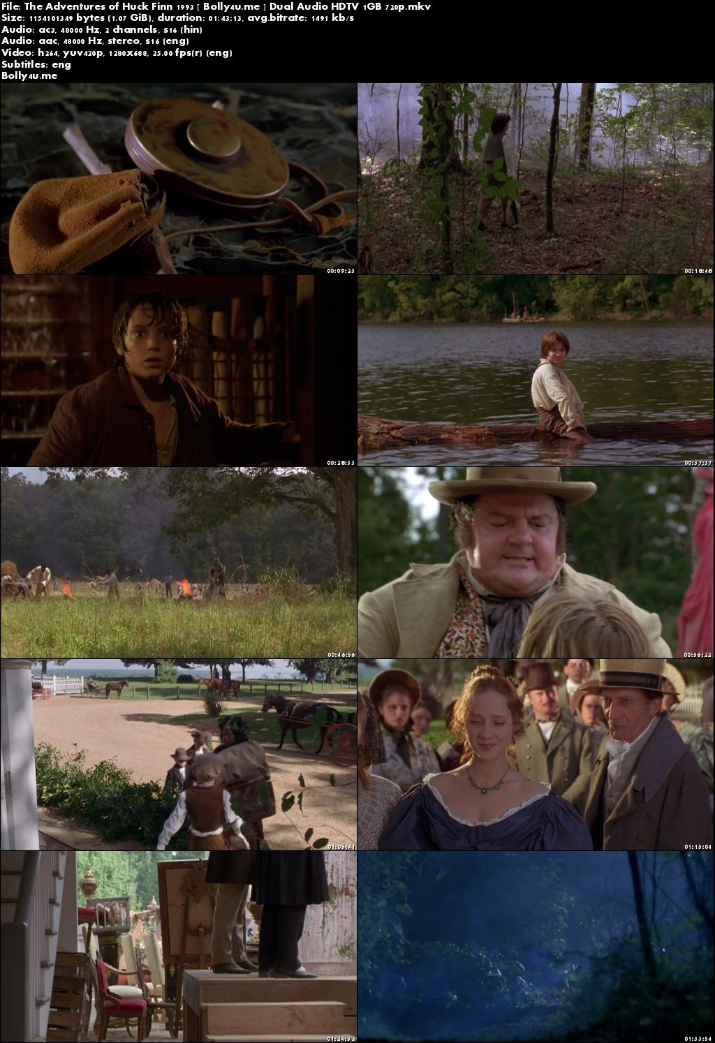 The Adventures of Huck Finn 1993 HDTV 350MB Hindi Dual Audio 480p Download