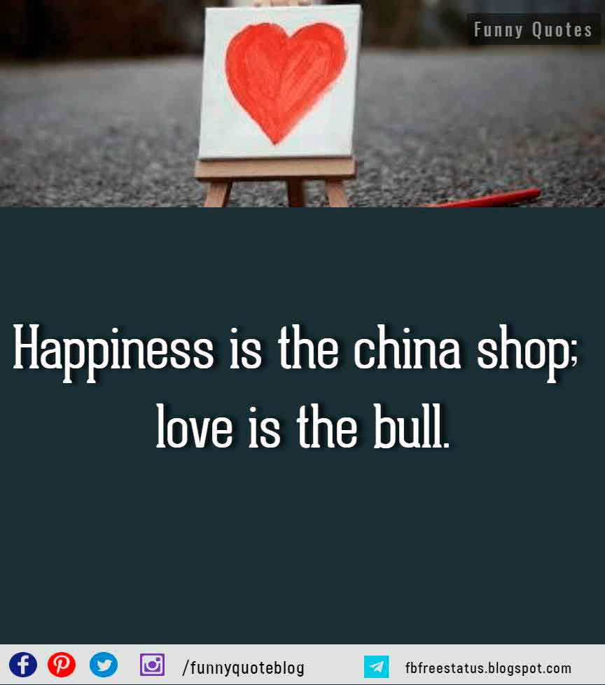 Happiness is the china shop; love is the bull. - H. L. Mencken