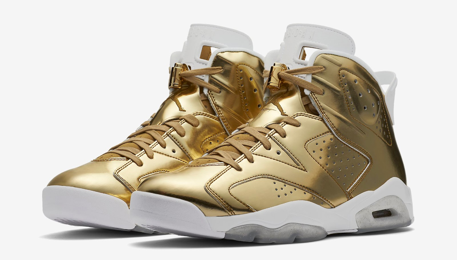 0cbf97bcb47 This Air Jordan 6 Retro Pinnacle comes in a metallic gold and white  colorway. Featuring a shiny liquid metallic gold upper with white accents  and speckles ...